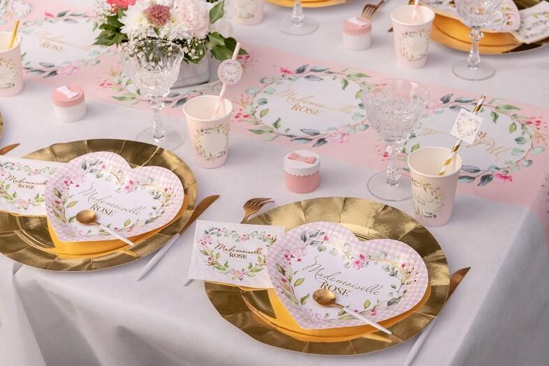 Serviette cocktail baby shower coeur fille fleur rose