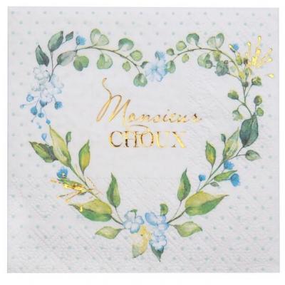 Serviette cocktail Baby Shower bleu ciel garçon avec motifs fleurs 12.5cm (x20) REF/7311