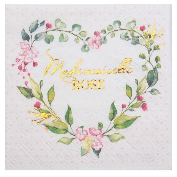 Serviette cocktail baby shower coeur fleur rose pour fille