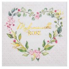 Serviette cocktail Baby Shower rose fille avec motifs fleurs 12.5cm (x20) REF/7311