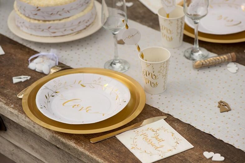 Serviette cocktail blanche et doree mariage just married