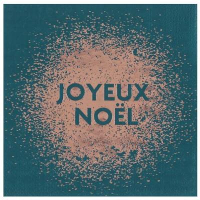 Serviette cocktail Noël étincelant bleu canard 12.5cm (x20) REF/6999
