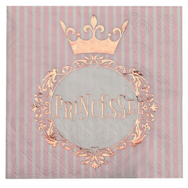 Serviette cocktail fete anniversaire princesse blanc et rose gold