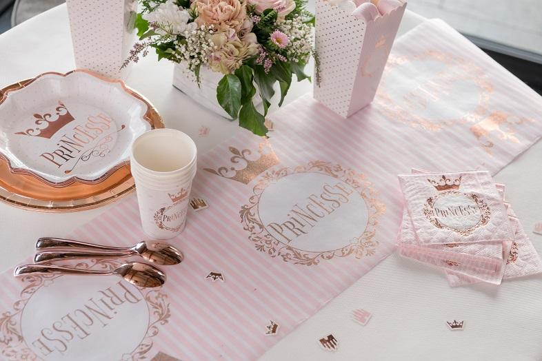 Serviette cocktail fete anniversaire princesse blanche et rose gold