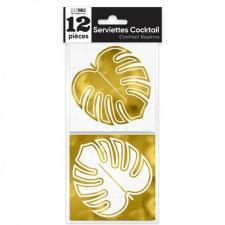 Mini Serviette cocktail feuille d'or métallisé 10cm x 10cm (x12) REF/APSFOR