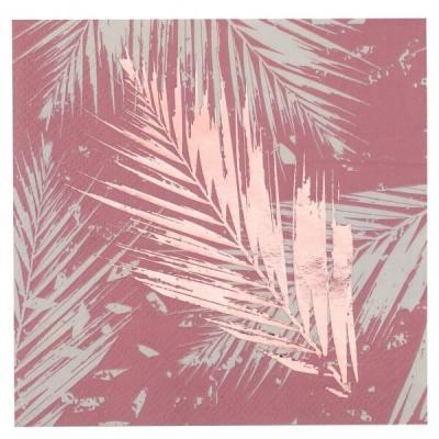 Décoration serviette cocktail Jungle tropical rose 12.5cm (x20) REF/7178