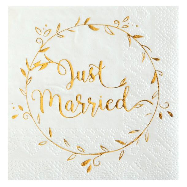 Serviette cocktail mariage blanche et doree just married