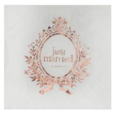 Serviette cocktail mariage just married blanche et rose gold