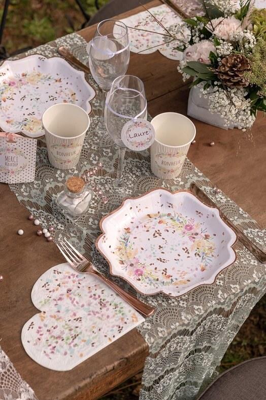 Serviette coeur champetre mariage fleur