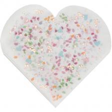 Serviette de table coeur avec décoration florale (x20) REF/7390