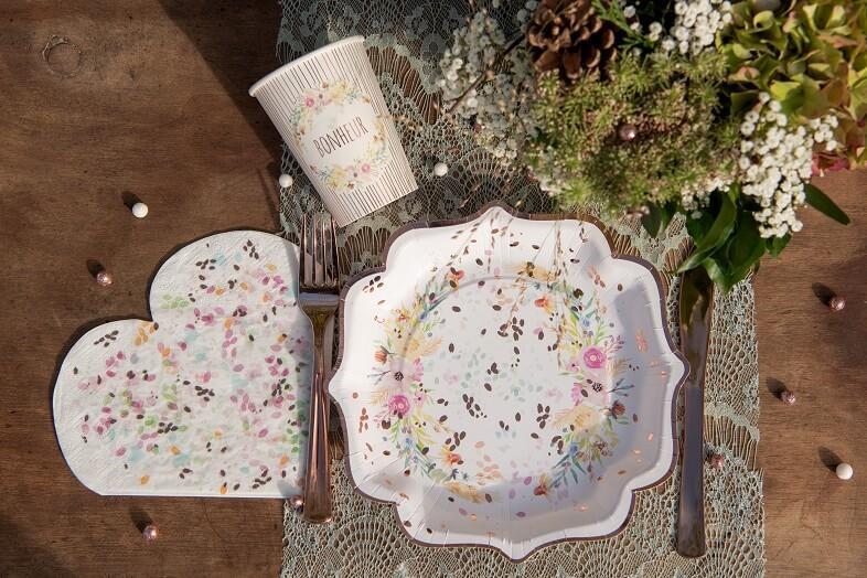 Serviette coeur champetre mariage floral