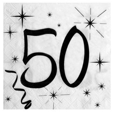 Serviette de table anniversaire blanche et noire 50 ans (x20) REF/5241