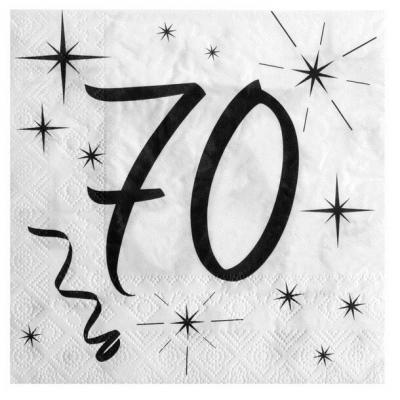 Serviette de table anniversaire blanche et noire 70 ans (x20) REF/5241