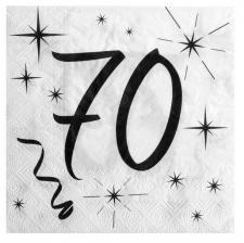 Serviette anniversaire blanche 70ans (x20) REF/5241