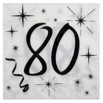 Serviette de table anniversaire blanche et noire 80 ans (x20) REF/5241