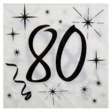 Serviette anniversaire blanche 80ans (x20) REF/5241