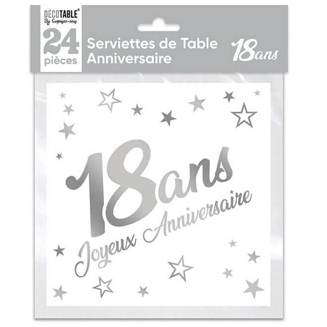 Serviette de table anniversaire 18 ans blanche et argentee metallisee