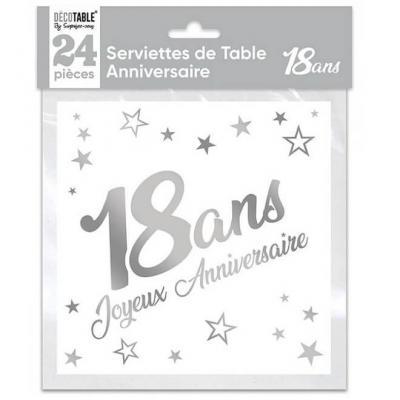 Serviette de table anniversaire 18 ans blanche et argentée métallisée (x24) REF/STAM01A