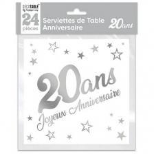 Serviette de table anniversaire 20 ans blanche et argentee metallisee