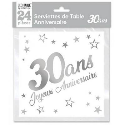Serviette de table anniversaire 30 ans blanche et argentee metallisee