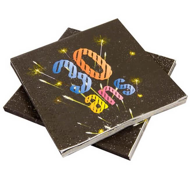 Serviette de table anniversaire 30ans noir et multicolore copie
