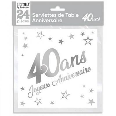 Serviette de table anniversaire 40 ans blanche et argentée métallisée (x24) REF/STAM04A