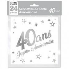 Serviette de table anniversaire 40 ans blanche et argentee metallisee