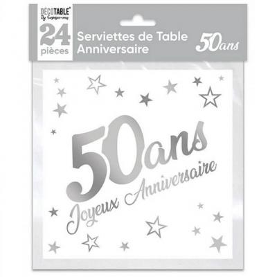 Serviette de table anniversaire 50 ans blanche et argentée métallisée (x24) REF/STAM05A