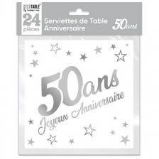 Serviette de table anniversaire 50 ans blanche et argentee metallisee