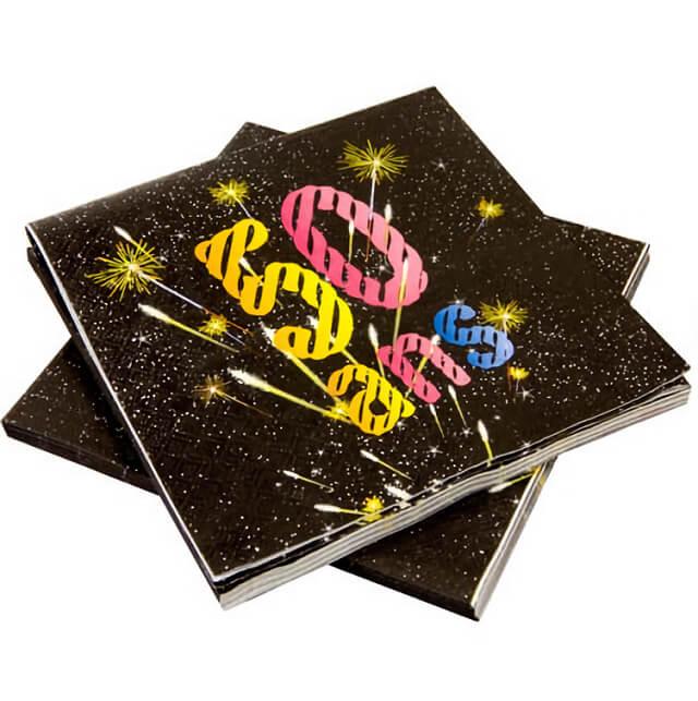 Serviette de table anniversaire 50ans noir et multicolore copie