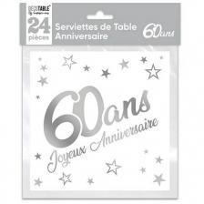 Serviette de table anniversaire 60 ans blanche et argentee metallisee