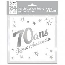 Serviette de table anniversaire 70 ans blanche et argentee metallisee