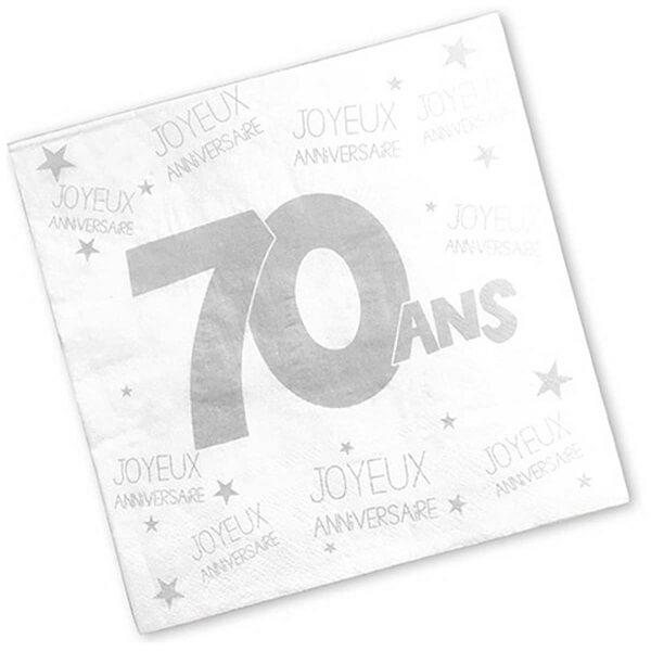 Serviette de table anniversaire 70ans blanche
