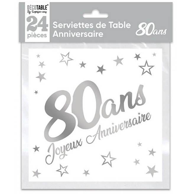 Serviette de table anniversaire 80 ans blanche et argentee metallisee