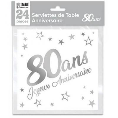 Serviette de table anniversaire 80 ans blanche et argentée métallisée (x24) REF/STAM08A
