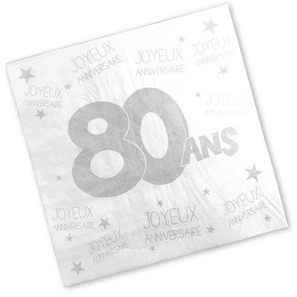Serviette de table anniversaire 80ans blanche