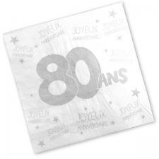 Serviette anniversaire blanche 80ans (x24) REF/S3PA08