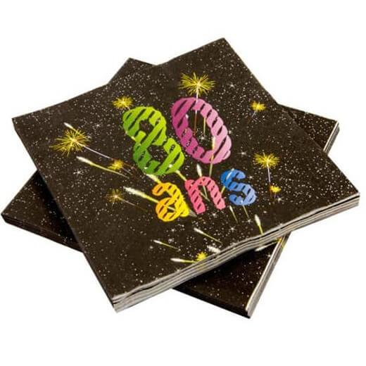 Serviette de table anniversaire 80ans noir et multicolore