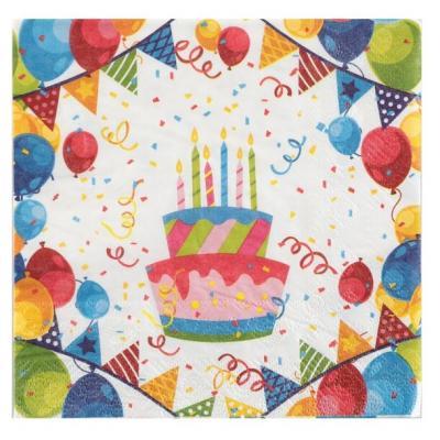 Serviette de table anniversaire Arlequin (x20) REF/6183
