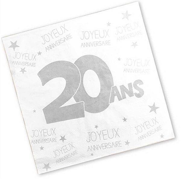 Serviette de table anniversaire blanche 20ans