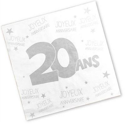 Serviette anniversaire blanche 20ans (x24) REF/S3PA02