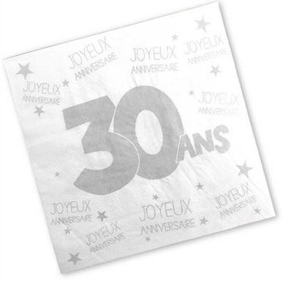 Serviette anniversaire blanche 30ans (x24) REF/S3PA03