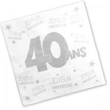 Serviette anniversaire blanche 40ans (x24) REF/S3PA04