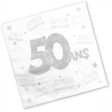 Serviette anniversaire blanche 50ans (x24) REF/S3PA05