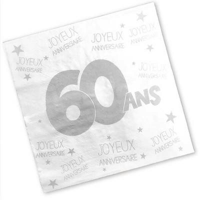 Serviette anniversaire blanche 60ans (x24) REF/S3PA06