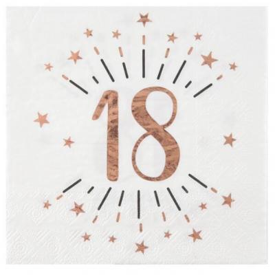 Serviette de table anniversaire 18 ans blanche et rose gold métallique (x10) REF/7350