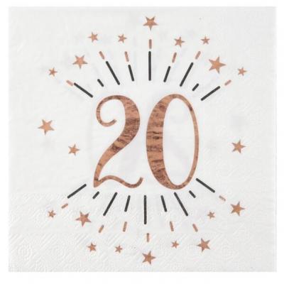 Serviette de table anniversaire 20ans blanche et rose gold métallique (x10) REF/7350