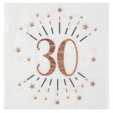 Serviette de table anniversaire 30ans blanche et rose gold métallique (x10) REF/7350