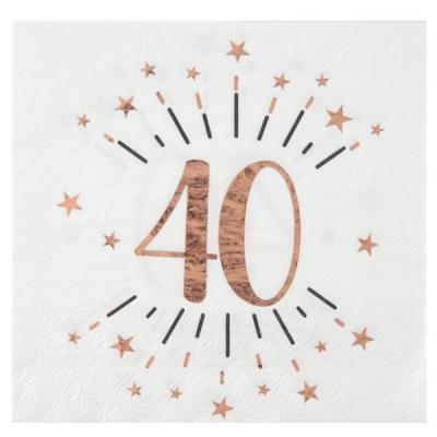 Serviette de table anniversaire 40ans blanche et rose gold métallique (x10) REF/7350