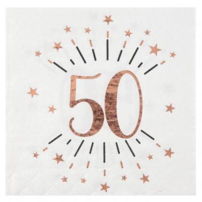 Serviette de table anniversaire 50ans blanche et rose gold métallique (x10) REF/7350